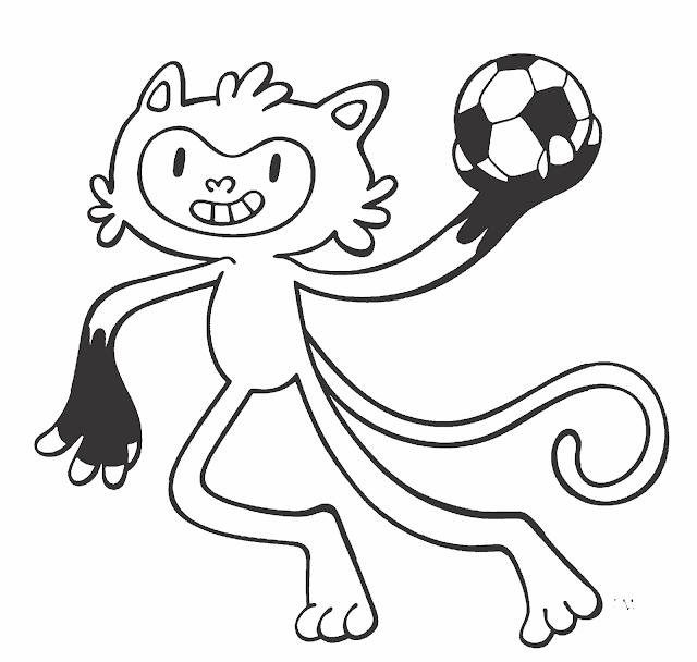 Mascote Vinicius praticando esportes olímpicos para colorir
