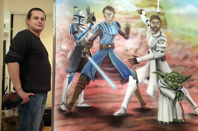 Malowanie obrazów na ścianie w pokoju chłopca, mural w gwiezdne wojny, aranżacja ściany poprzez malowanie