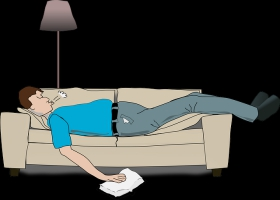 A funny cartoon of man snoring very loudly.