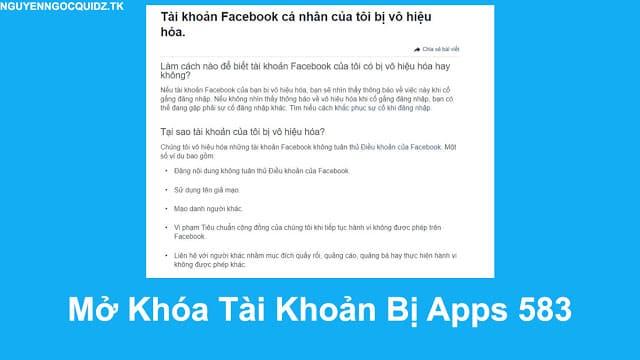 hướng dẫn mở khóa tài khoản facebook 583, unlock apps 583, cách unlock faq apps nt 583