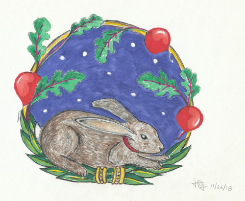 drawing of a rabbit in a medallion