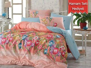 Hobby Bianca Narçiçeği Çift Kişilik Ranforce Nevresim Takımı Alana Hobby Hamam Seti Hediye