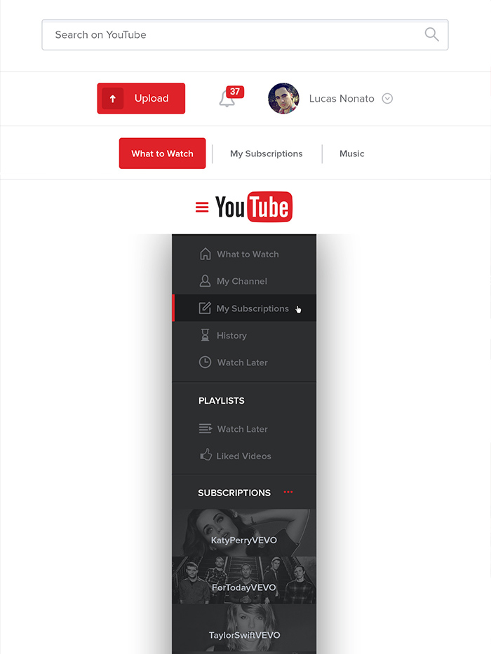 Youtube page redesign