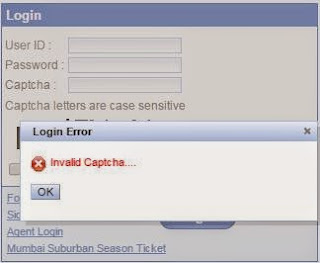 error shown on irctc when you enter invalid captcha text at the time of login