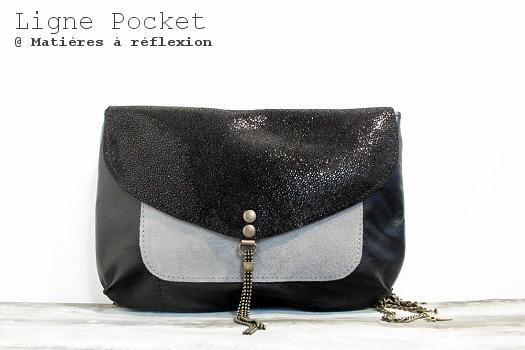 Pochette Letter Pocket noir/shiny/gris Matières à réflexion