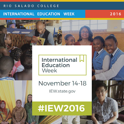 Poster for International Ed Week.  Montage of images of young people from around the globe.  Text: Rio Salado College International Ed Week, Nov 14-18.  IEW.state.gov #IEW2016