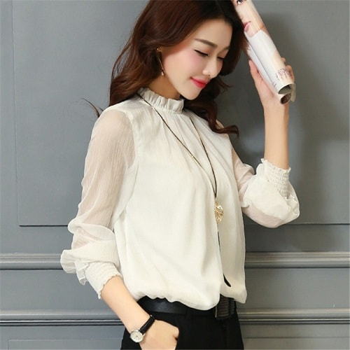 Blouse with Ruffled Collar Korea