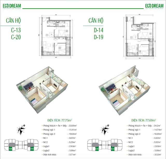 Thiết kế căn hộ loại C và D chung cư Eco Dream