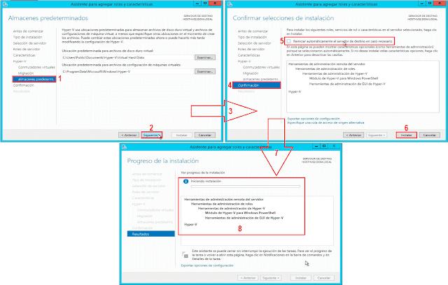 Instalar Hyper-V: Reiniciar automaticamente el servidor en caso necesario.