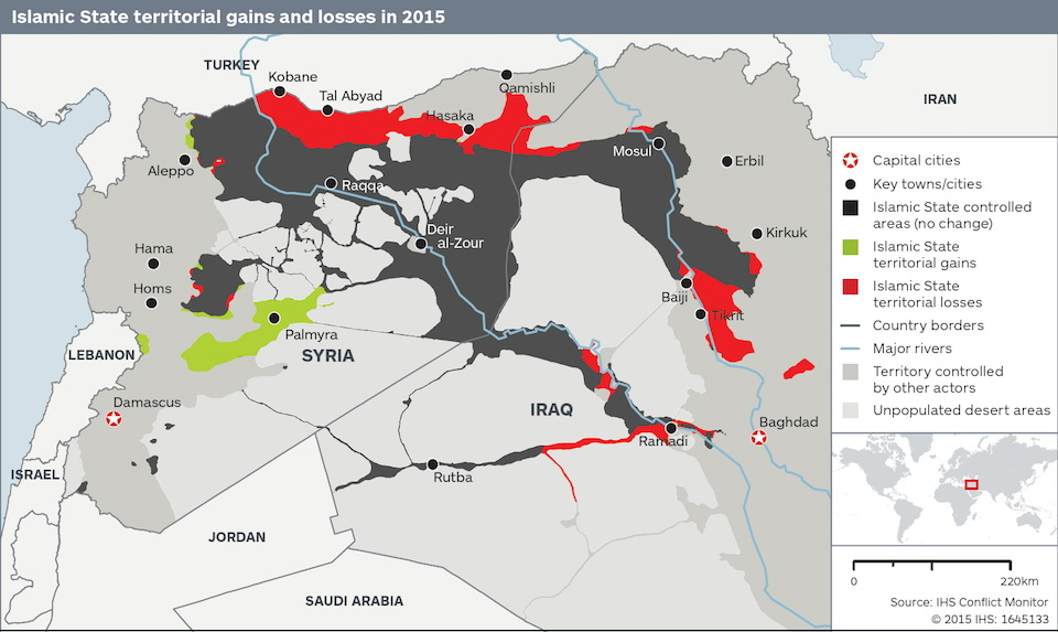 Islamic State territorial gains and losses (2015)