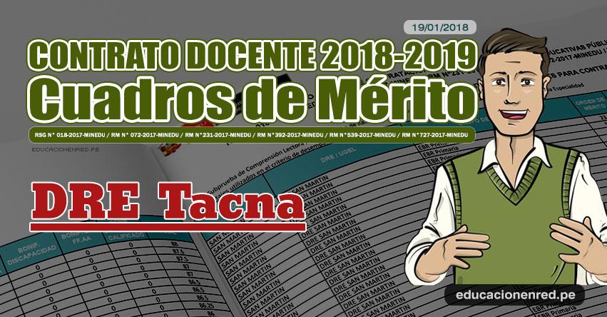 DRE Tacna: Cuadros de Mérito Contrato Docente 2018 - 2019 (.PDF) www.educaciontacna.edu.pe