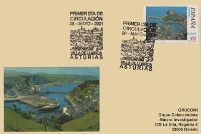 Tarjeta del matasellos de Primer Día de Circulación del sello dedicado a Luarca
