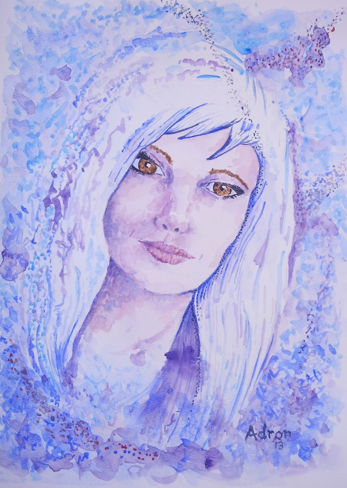 Artist Adron Watercolor Portrait Of Woman With White Hair