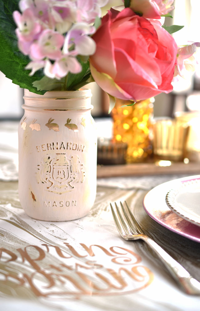 Painted mason jar with pretty diy bunny decals cut with the Cricut - perfect for Easter or spring