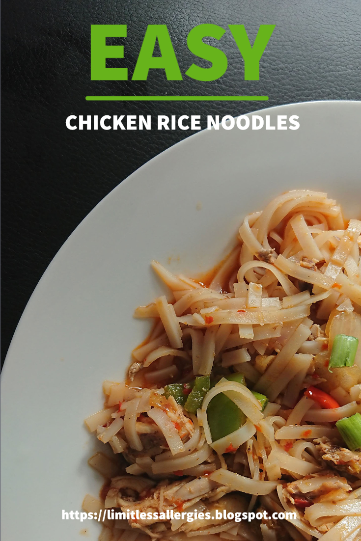 pinning image for allergy friendly Chicken Rice Noodles