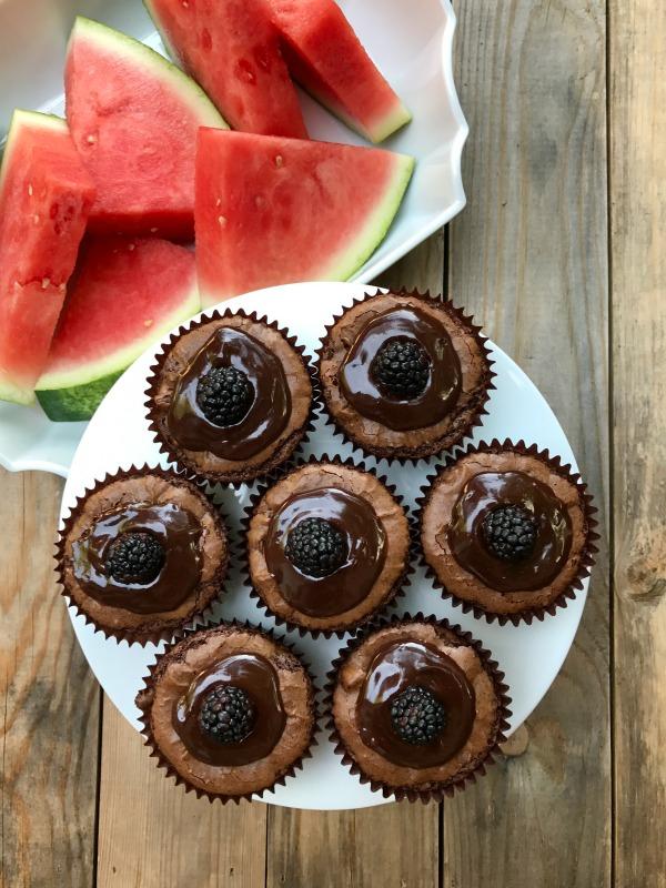 Ganche Blackberry Brownie Cupcake