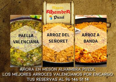 En Mesón Alhambra Puzol los mejores arroces valencianos por encargo