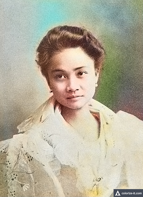Portrait of Clemencia Lopez of Balayan.  Image source:  The Story of the Lopez Family: A Page from the History of the War in the Philippines.