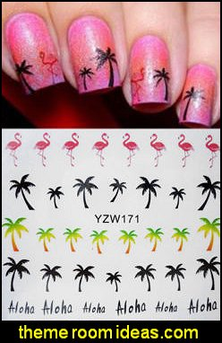 Nail Art Water Transfers Decals Stickers Summer Palm Trees Flamingo Gel Polish