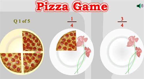 Juego de pizzas en las que hay que separar porciones