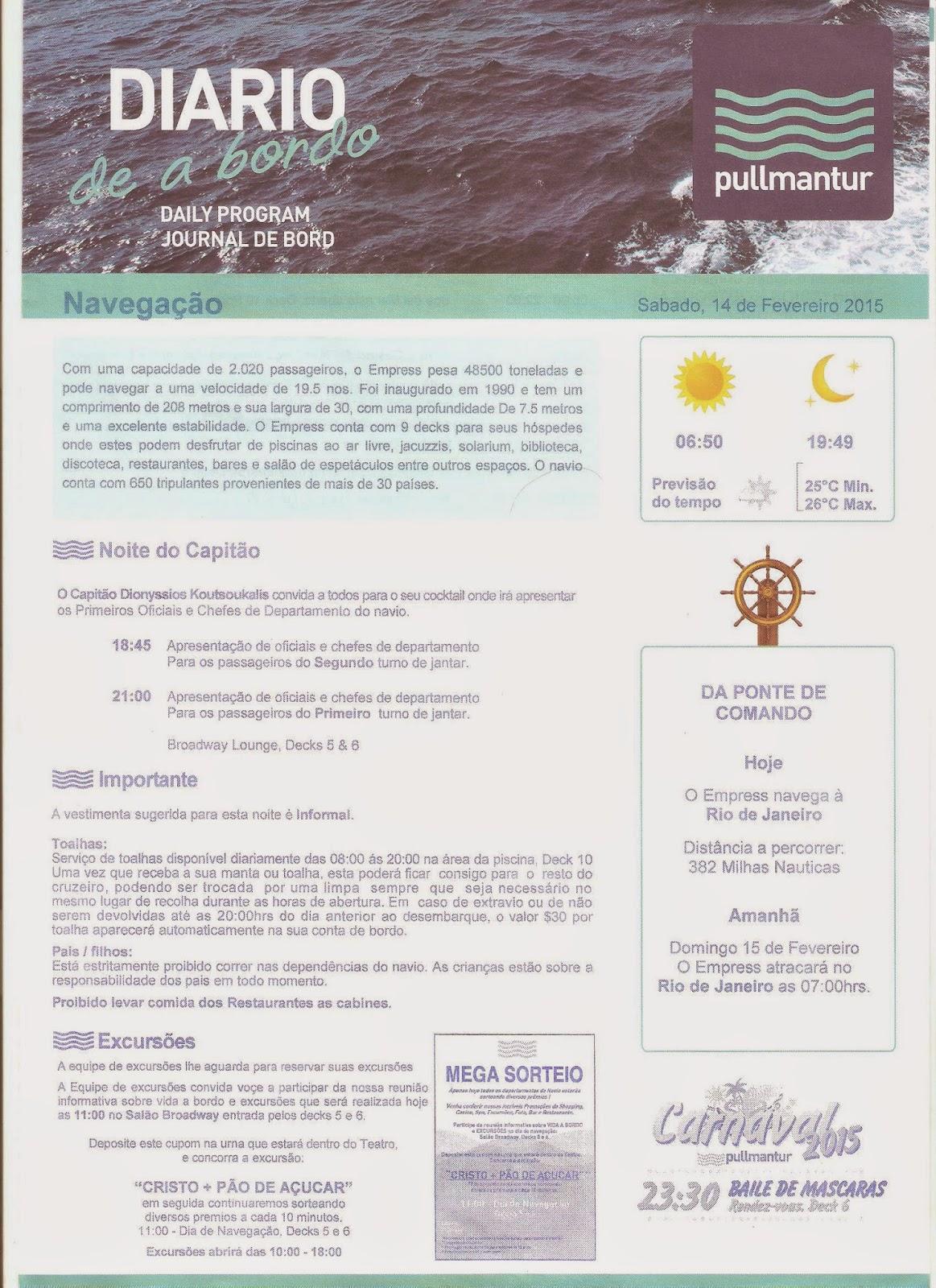 Página de Diário de Bordo - navio Empress