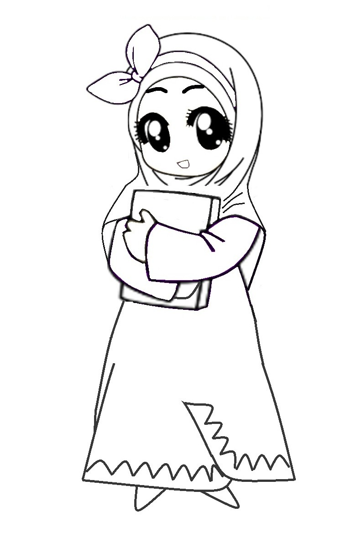 Download gambar kartun muslimah baju pink firepubg