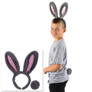 Boy wearing bunny ears and tail