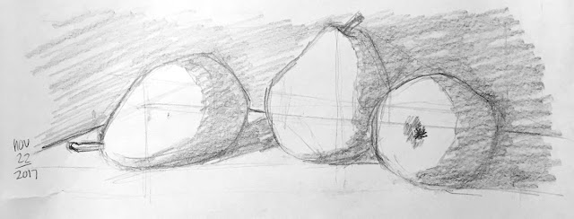 Daily Art 11-22-17 still life sketch in graphite number 26 - pears