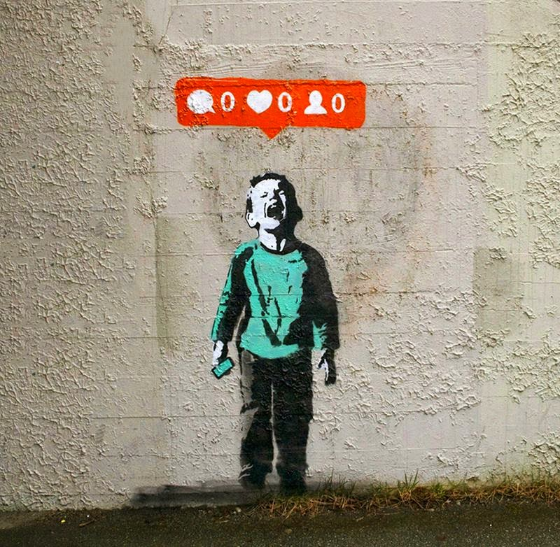 iHeart a street-artist based in Vancouver, has created a series of street compositions in which each image examines our relationship to contemporary culture, social networks and their connection to a whole generation of children.