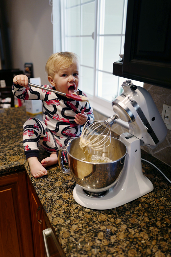 Rainy day ideas for toddlers: Baking in pajamas!