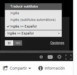 Opciones para ver idioma del Video