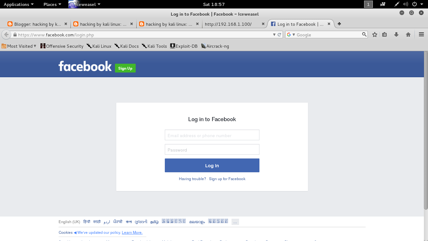 hacking by kali linux: how to hack facebook in linux using