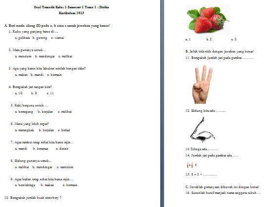 Download Kumpulan Soal Tematik Kelas I SD/MI Kurikulum 2013 Tema 1 dan 2 Format Microsoft Word