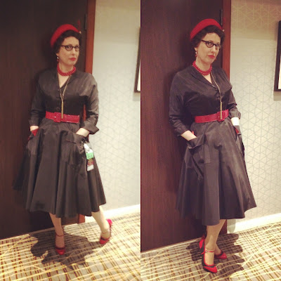 In a Black Coat Dress with Red Accessories at BayCon