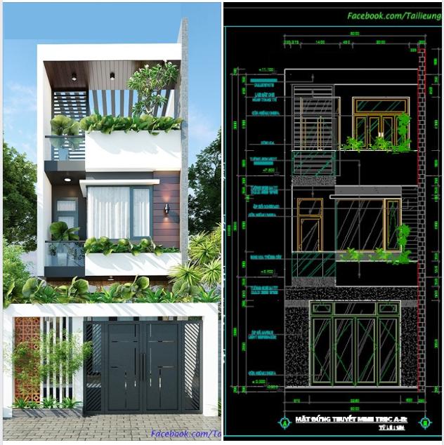 Bản vẻ CAD mẫu nhà 5x20 mét 3 tầng đầy đủ thành phần