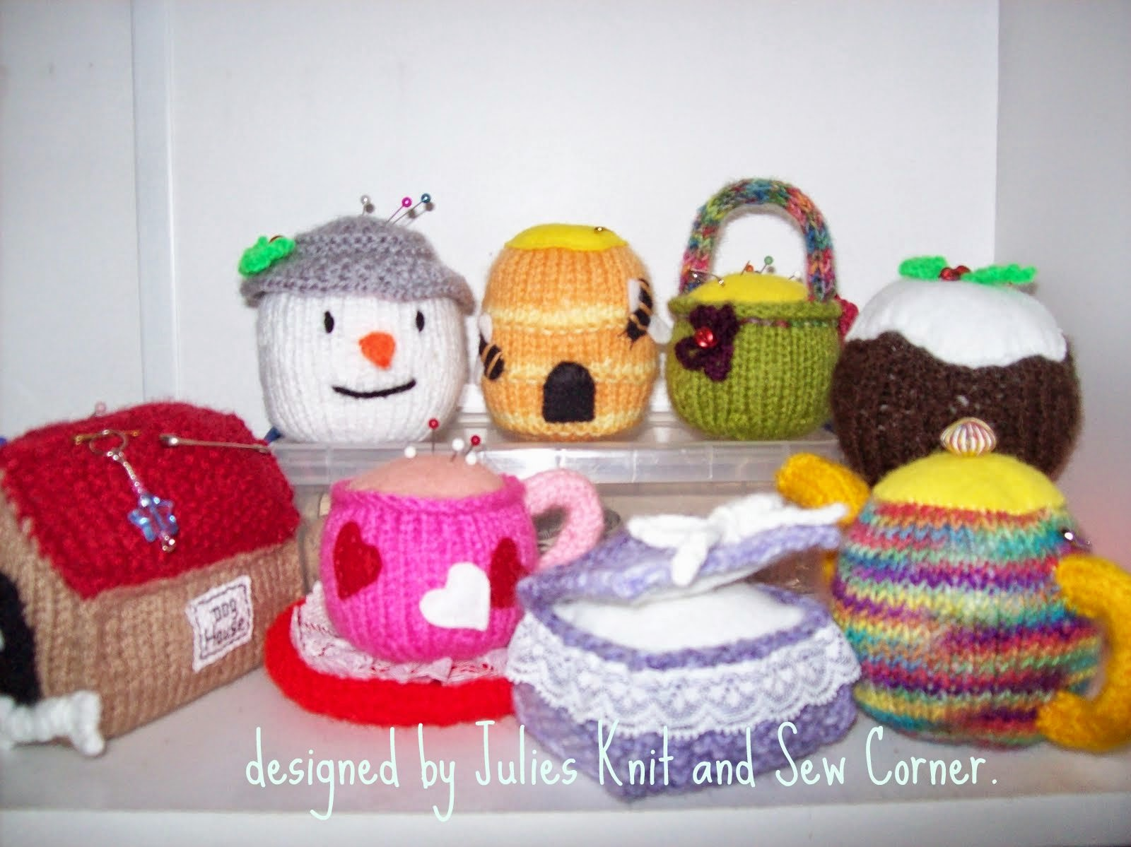 KNITTED PIN CUSHIONS.