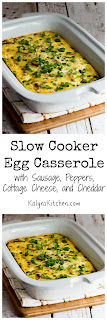 Slow Cooker Egg Casserole with Sausage, Peppers, Cottage Cheese, and Cheddar found on KalynsKitchen.com.