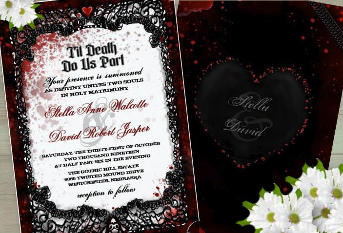 Halloween Black White & Red Bloody Gothic Custom Wedding Invitation