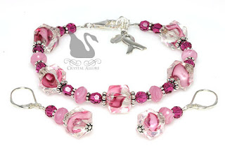 Pink Ribbons Breast Cancer Awareness Jewelry Set (B092, E296)
