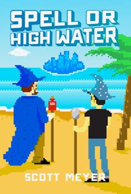 Zwei Männer mit Zauberstock und Spitzhut stehen am Strand, eine Palme neben ihnen, und schauen auf eine entfernte Insel, die komplett aus Kristallen besteht.