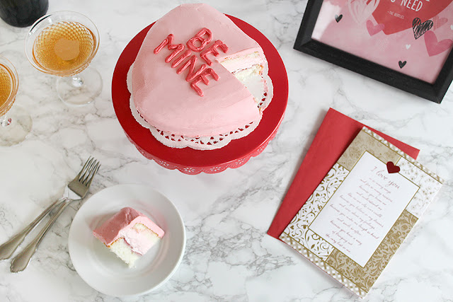 Berry Cream-Filled Conversation Heart Cake