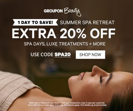 Groupon 20% Off Summer Spa Retreat Promo Code