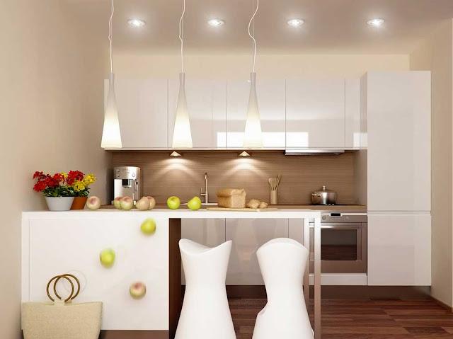 Contoh desain dapur kecil minimalis dengan lampu gantung dan hiasan