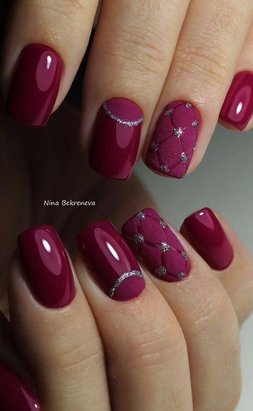 maroon nail art design