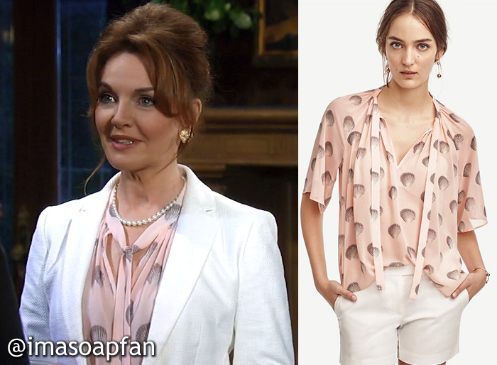 Naomi Dreyfus's Pink Seashell Print Blouse - General Hospital