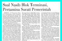 Concerning the Fate of Termination Block, Pertamina Send a letter to the Government
