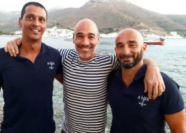 Actor Jean-Marc Barr (Center) with Freedivers Association AIDA Hellas president Dimitris Koumoulos and vice president Christos Papadopoulos.  Photo Source amorgos-news. gr