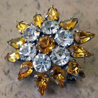 Austrian crystal vintage diamante brooch in clear and amber