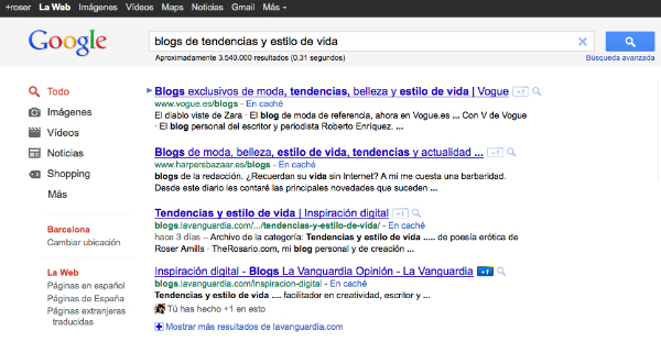 'Inspiración digital', 1ª página Google