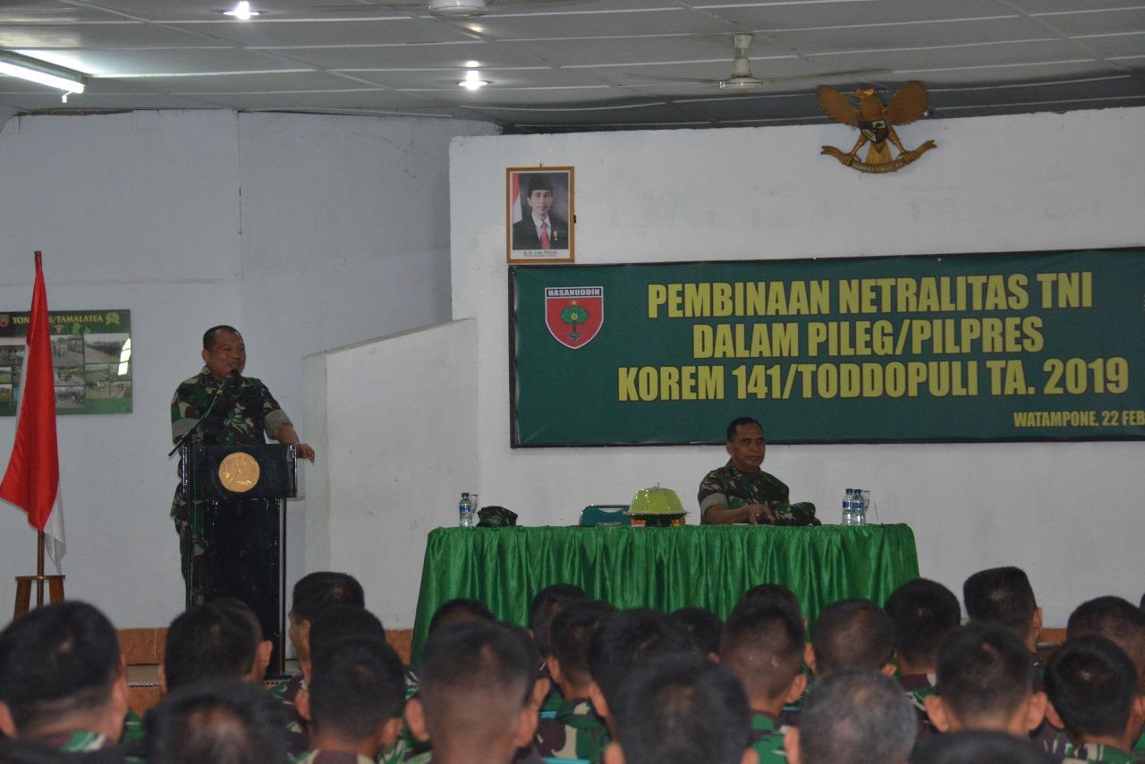 Jaga Netralitas TNI, Korem 141/Tp Gelar Sosialisasi Netralitas TNI Terhadap Personelnya